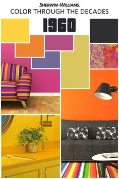 Color Through the Decades With Sherwin-Williams Loved the So did we! Paisleys met geometrics, boldly marking the decade of peace, love and rock 'n' roll. Want to add a bit of this bright, modern palette to your home? Vintage Colour Palette, Colour Pallete, Vintage Colors, Colour Schemes, Color Palettes, Interior Design History, Mid-century Interior, Estilo Retro, Pantone Color