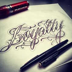 "Today's script project. ""Loyalty"" #getsome #scriptwizard #krink #tattoo…"