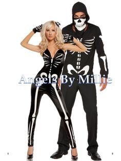 halloween couple skeleton shopping | Couples Halloween Costume Set Small S Large L Men Women ...
