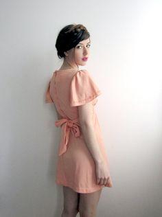 1960's Peach Mini Dress Empire Waist by tomorrowisforever on Etsy, $54.00