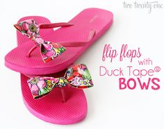 This post brought to you by Duck® Brand. All opinions are mine. It's prom season, people. High schoolers across the country are spray tanning, debating their hairstyles, and crossing their fingers no one will show up in the same dress. Flip Flop Craft, Flip Or Flop, Flip Flops, Duct Tape Projects, Duck Tape Crafts, Diy Projects, Duct Tape Bows, Bow Shoes, Diy Clothing