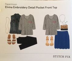 Stitch Fix Review: Papermoon Elvina embroidery detail pocket front top  status: returned reason: I really was torn over this pick! I almost kept it but though it was cute for the price I felt I should love it not just like it.