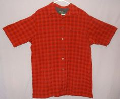 Eddie-Bauer-Red-Plaid-Shirt-Size-Tall-Large-Button-Front-Damaged