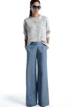 yes yes to a wide-leg chambray pant situation.