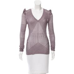 Pre-owned Jill Stuart Metallic Open Knit Sweater (110 AUD) ❤ liked on Polyvore featuring tops, sweaters, metallic, flutter-sleeve tops, ruffle sweaters, purple ruffle top, crew neck sweaters and purple sweater