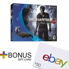 PlayStation 4 Slim 500GB Uncharted 4 Bundle + $50 eBay Gift Card with purchase  | eBay