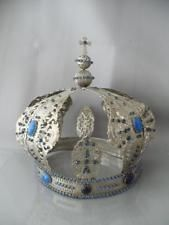 ANTIQUE VTG SILVER METAL LIFE SIZE LARGE JEWELED CROWN for MADONNA SANTOS STATUE