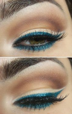 Dark shimmery blue eye liner with brown eye shadow.