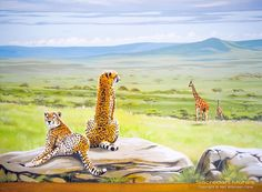 Cheetahs on rock in serengeti mural