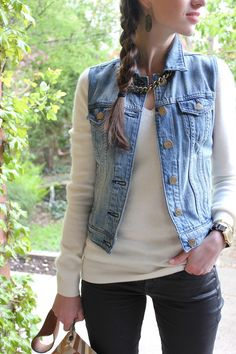 Style Bee in Black pants, white sweater and jean vest with necklace. LOVE.