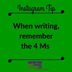 Instagram Tip: Message Must Match Market! Remember the 4 Ms when writing!!! When you start writing your description think first WHO is this for??? Today over at the 6 Steps to Instagram Success FB group we are discussing message and market. Click the link in my bio to join us!  #marketyourbusinessblog