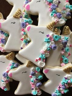 12 Cute and colorful unicorn Cookies tied with matching ribbons into individual bags. Cookies Cupcake, Unicorn Cookies, Iced Cookies, Cute Cookies, Easter Cookies, Birthday Cookies, Cookies Et Biscuits, Sugar Cookies, Unicorn Foods