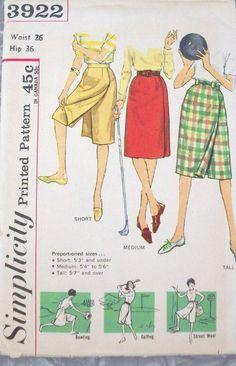 Simplicity Vintage Pattern 3922 Bowling Skirt/Skort UNCUT - 1960s- via Etsy