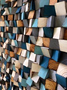 Large Wood Wall Art - Wood Sound Diffusor - Reclaimed Wood Art in 2019 Large Wood Wall Art, Metal Tree Wall Art, Diy Wall Art, Wall Wood, Wood Walls, Reclaimed Wood Art, Wooden Blocks, Diy Wood Projects, Shades Of Blue