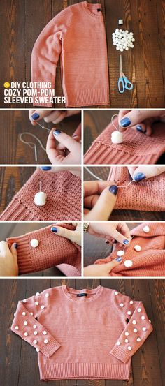 DIY Cozy Pom Pom Sleeved Sweater sew white pom poms on sweaters and other clothes!