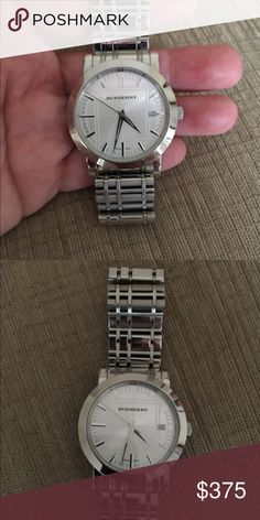 """01de0a80600 Stainless Burberry men's watch Purchased several years ago at Nordstrom and  rarely used...""""time"""" to let it go. Needs a battery, so I am lowering my  asking ..."""