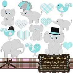Boy Baby Elephant Clipart by Candy Box Digital. Cute animal clip art, great for baby shower invitations - Candy Box Digital Elephant Party, Elephant Birthday, Elephant Baby Showers, Baby Elephant, Elephant Stuff, Elephant Theme, Baby Shower Niño, Best Baby Shower Gifts, Selfies