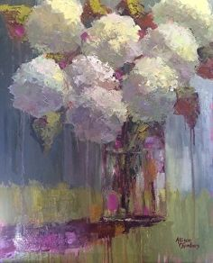 Yesterday by Allison Chambers Oil ~ 30 x 24 Still Life Art, Painting Inspiration, Impressionism, Flower Paintings, Oil Paintings, Abstract Art, Watercolor, Hydrangeas, Artist