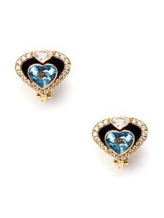 Marina B. Onyx & Blue Topaz Heart Earrings