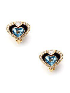 Marina B. Onyx & Blue Topaz Heart Earrings