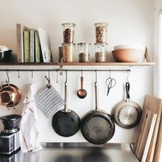 """Installed some shelves and now this little corner of the kitchen is my new favourite. Does an organized kitchen make me a better cook? No? Well at least it'll be a little easier to stay in there and learn what risotto and florentine mean. Real talk: we had """"take out"""" from the farmers market for lunch today. I called it """"inspiration"""". #casadefloris"""
