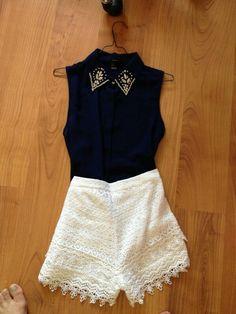 Lace shorts black top