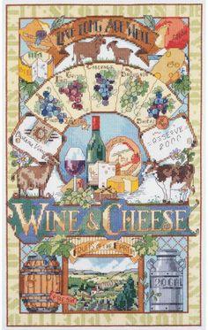 Wine & Cheese - Cross Stitch Kit