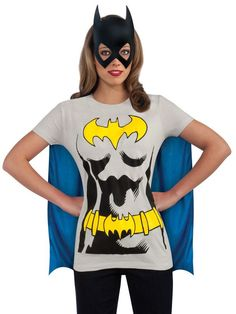 Check out Women's Batgirl Shirt, Mask & Cape Costume - Superheroes Mens Costumes from Wholesale Halloween Costumes Batgirl Halloween Costume, Batman Costumes, T Shirt Costumes, Cool Costumes, Costumes For Women, Costume Ideas, Modest Costumes, Family Costumes, Halloween Shirt