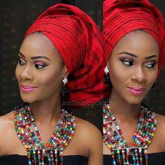 Loving this look.Gele and beads by @iamopeke; MUA @makeupbychinny #tradlook #beads #welove #style #tradfashion