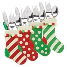 stocking silverware holders in early christmas 2012 from current - Christmas Silverware Holders