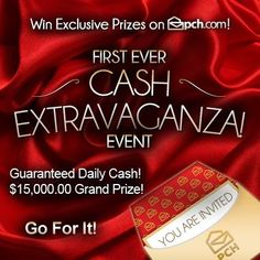 It's a CASH EXTRAVAGANZA at PCH.com! Be sure to play daily for your chance to win big! Remember, if a PCHSuperFan wins the $15,000 grand prize, it will be doubled to $30,000! /CashExtravaganza #PCH
