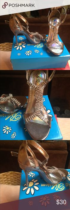Rhinestone T strap heels Beautiful rhinestone T strap around the ankle heels! Worn once excellent condition! Pewter metallic color. Shoes Heels