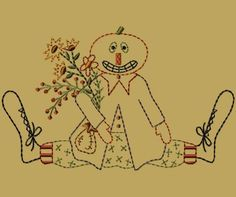PK005 Jack Version 2 - $8.00 : Primitive Keepers, Prim Machine Embroidery Designs
