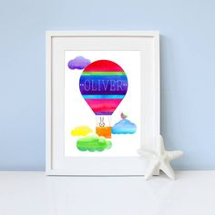 personalised up, up and away print by katy clemmans | notonthehighstreet.com