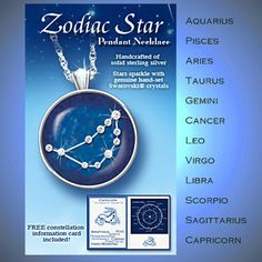 Birthday Zodiac Sign Crystal Astrology Pendant Necklace: Zodiac Star