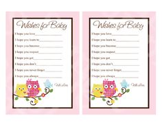 """Printable """"Happy Tree Owls"""" Wishes for Baby Cards Instant Digital Download"""