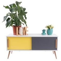 Hyatt TV & Console Table - White/Grey/Yellow