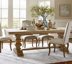 "Banks Extending Rectangluar Dining Table, Medium, 76 x 40"", Smoked Pine finish"