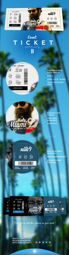 Event Ticket Template by Patoo Design, via Behance