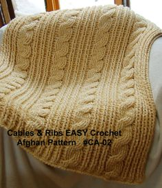 Cables & Rib EASY Crochet Afghan Pattern. Quick Project - Crochet Cable Pattern on Etsy! Designed by Mary Jane