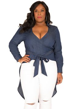 757ae95dd63 Poetic Justice Plus Size Curvy Women s Fishtail Tencel Denim High-Low Wrap  Shirt Size Size  XL