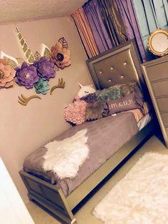 Fancy kids bedroom design ideas for dream homes 11 Unicorn Bedroom Decor, Unicorn Rooms, Unicorn Decor, Unicorn Wall, Unicorn Themed Room, Girl Bedroom Designs, Girls Bedroom, Diy Bedroom, Preteen Girls Rooms