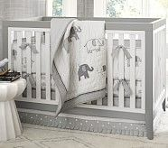Gray Elephant Nursery Quilt Bedding Set: Toddler Quilt, Crib Skirt & Crib Fitted Sheet
