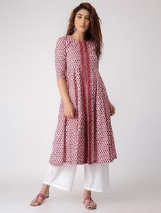 153501eec8d Buy Pink Block printed Cotton Kurta Women Kurtas Flower Power with tasseled  tie up details Online
