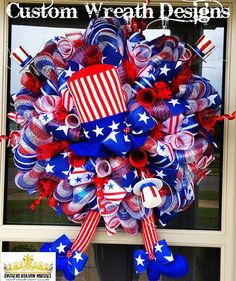 Items similar to July Wreath - Patriotic Wreath - Fourth of July Wreath - American Flag Wreath - Veterans Day Wreath - Americana - Stars and Stripes on Etsy Patriotic Wreath, 4th Of July Wreath, Patriotic Crafts, American Flag Wreath, Memorial Day Wreaths, 4th Of July Decorations, Holiday Decorations, Trendy Tree, Deco Mesh Wreaths