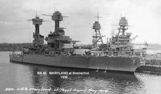 USS Maryland (BB-46)(front) and USS Arizona (BB-39) back at Puget Sound Naval Yard, 1936