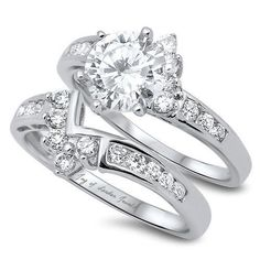 2CT Round Cut Russian Lab Diamond Solitaire Bridal Set Wedding Band Ring