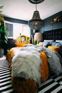 Home Decor Bedroom, Bedroom Furniture, Bedroom Colors, Bedroom Yellow, Bedroom Black, Bedroom Ideas, Dark Home Decor, Bedroom Rustic, Bed Ideas