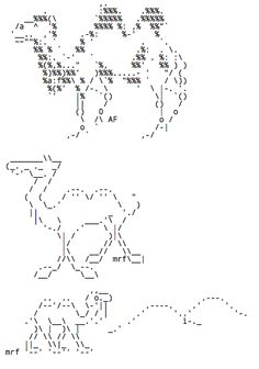 Camels in ASCII ART from the Christopher Johnson's ASCII Art Collection