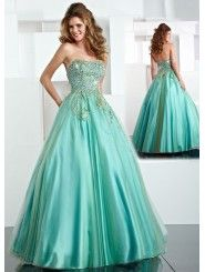 Long Ball Gown Strapless Green Dress With Beads---beautiful Gorgeous Prom Dresses, Prom Girl Dresses, Wedding Dresses Uk, Prom Dresses For Teens, Tulle Prom Dress, Cheap Prom Dresses, Quinceanera Dresses, Long Dresses, Homecoming Dresses